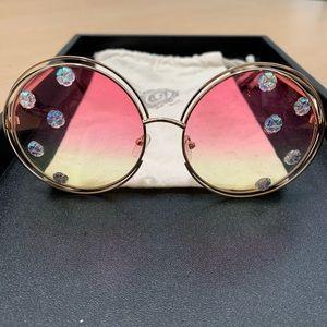 Gasoline glamor round pink yellow lens sunglasses